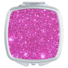 Compact Cosmetic Mirror Girlie Pink Sparkly Gift 2 at Zazzle
