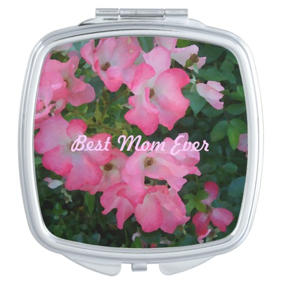 Compact Cosmetic Mirror Pink Garden Roses Best Mom