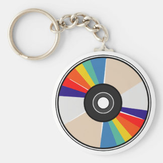 Compact Disc Basic Round Button Keychain