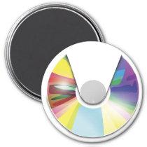 artsprojekt, music, compact disc, player, music player, disc, retro, digital, vector, Ímã com design gráfico personalizado