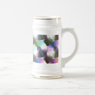 Compact Disc Rainbow Reflective Pattern Beer Stein
