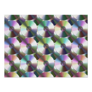 Compact Disc Rainbow Reflective Pattern Poster