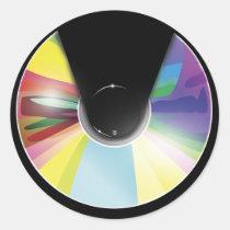 artsprojekt, music, compact disc, player, music player, disc, retro, digital, vector, Sticker with custom graphic design
