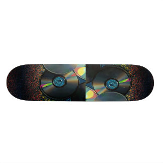 compact disks reflecting colors skate board deck