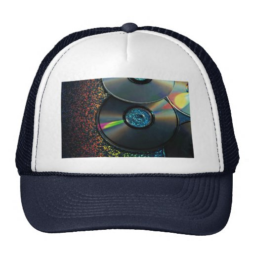 compact disks reflecting colors trucker hat