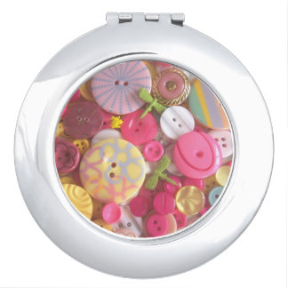Compact Mirror with Beach Colored Buttons