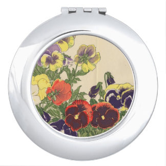 Compact Mirror with Pansies