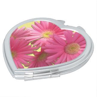 Compact - Mirrored - Dark Pink Gerbera Daisies Makeup Mirrors