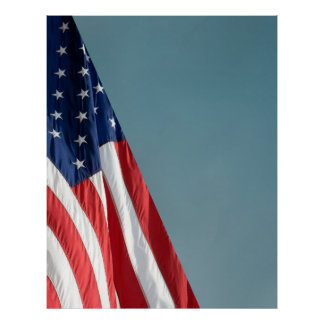 COMPACT PHOTO BACKDROP - US Flag on Blue Gray Poster