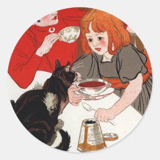 Compagnie Francaise des Chocolats, Steinlen Classic Round Sticker