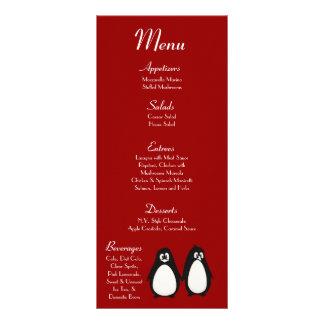 Compañero de 25 del menú de las tarjetas del pingü tarjetas publicitarias a todo color