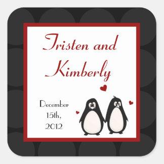 Compañero de los pares del amor del pingüino de pegatina cuadradas personalizadas