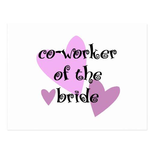 Compañero de trabajo de la novia tarjetas postales