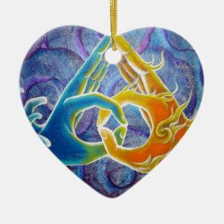 Compañero del alma adorno navideño de cerámica en forma de corazón