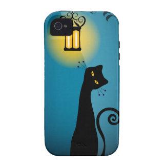 Compañero del caso del iPhone 4/4S del gato negro Funda Case-Mate Para iPhone 4