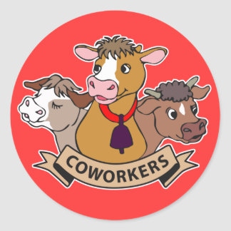 Compañeros de trabajo pegatina redonda