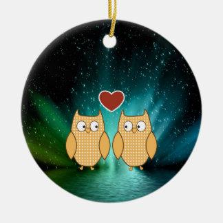 compañeros del alma del amor del boda adorno navideño redondo de cerámica