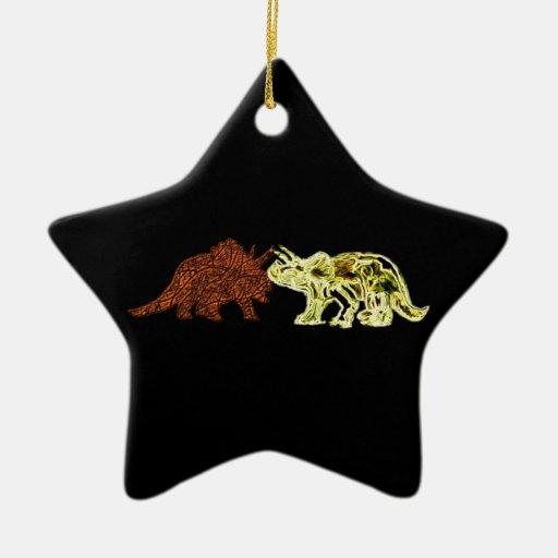 Compañeros del dinosaurio adorno navideño de cerámica en forma de estrella