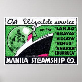 Compañía 1930 de buque de vapor de Manila Poster