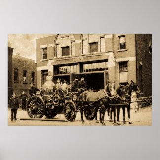 Compañía de bomberos del vintage póster