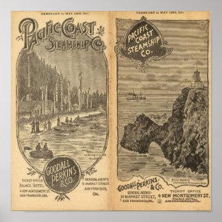 Compañía de buque de vapor de la Costa del Pacífic Póster