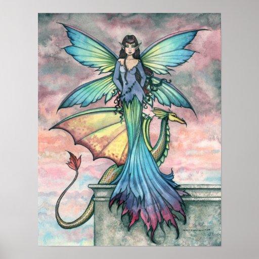 Companions Fairy Dragon Art Print Poster