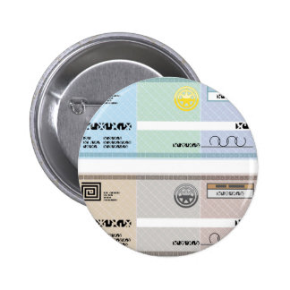 Company Check Gift Voucher Bonus Check Pinback Button