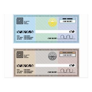 Company Check Gift Voucher Bonus Check Postcard