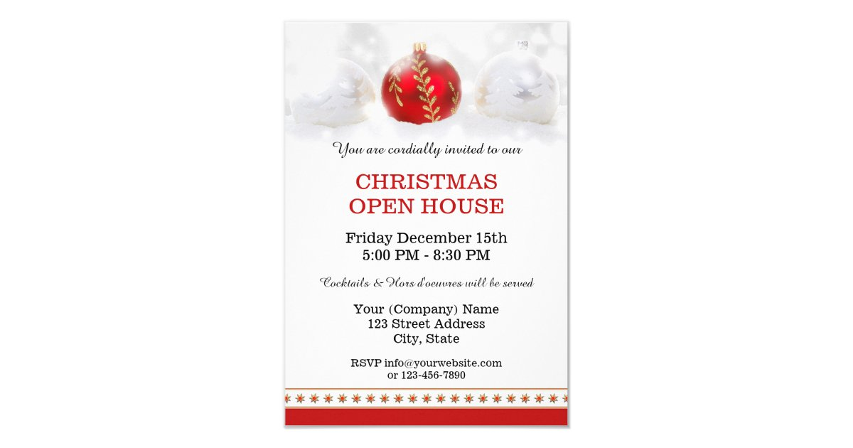 Company Christmas Open House Party Invitation | Zazzle.com