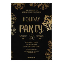 Company Christmas Party |  Black and Gold Glitter Invitation