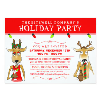 Company Holiday Party Reindeer with Drinks Invite