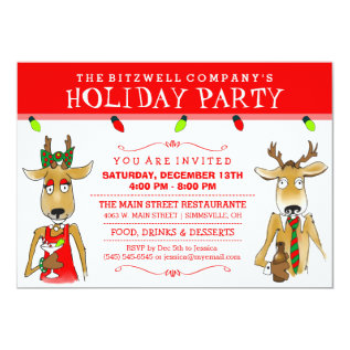 Company Holiday Party Reindeer With Drinks Invite at Zazzle