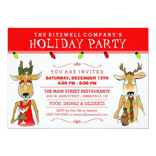 company holiday party reindeer with drinks invite zazzle com