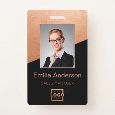 Company Logo Bar Code Employee Photo Rose Gold Badge