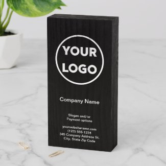 Company Logo Business Name Black Promotional Store Wooden Box Sign