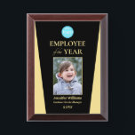 """Company Logo Employee of the Year Photo Black Gold Award Plaque<br><div class=""""desc"""">Create your own custom, personalized, beautiful, modern, elegant, professional, high quality, glossy finish, black and faux gold, cherry wood colored MDF frame, business office corporate employee recognition / appreciation, photo name logo award plaque. To personalize, enter the name of the employee / staff / executive, their designation, year, and add...</div>"""