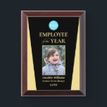 "Company Logo Employee of the Year Photo Black Gold Award Plaque<br><div class=""desc"">Create your own custom, personalized, beautiful, modern, elegant, professional, high quality, glossy finish, black and faux gold, cherry wood colored MDF frame, business office corporate employee recognition / appreciation, photo name logo award plaque. To personalize, enter the name of the employee / staff / executive, their designation, year, and add...</div>"