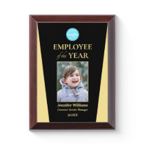 Company Logo Employee of the Year Photo Black Gold Award Plaque