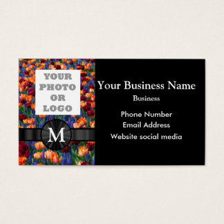 Company logo photo and pretty tulip floral flower business card