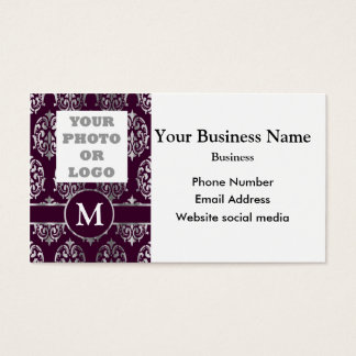 Company logo purple and silver damask business card