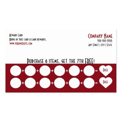 company loyalty business card punch card zazzle. Black Bedroom Furniture Sets. Home Design Ideas