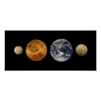 Comparaciones del tamaño del planeta terrestre póster
