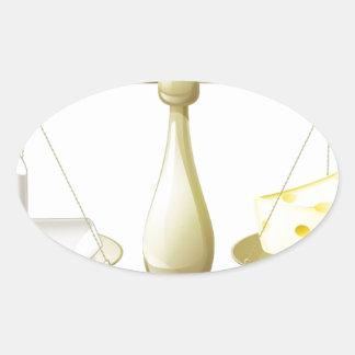 Comparar escalas de la tiza y del queso calcomanía de óval personalizadas