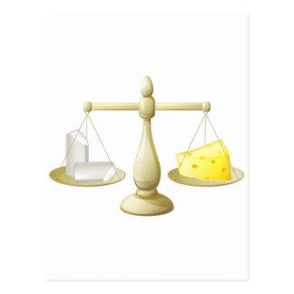 Comparar escalas de la tiza y del queso postales