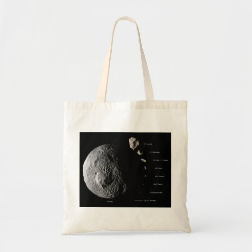 Comparative Size Chart of Nine Asteroids Budget Tote Bag