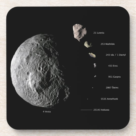 Comparative Size Chart of Nine Asteroids Beverage Coaster