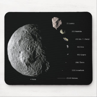 Comparative Size Chart of Nine Asteroids Mouse Pad