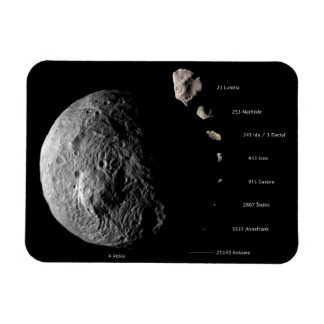 Comparative Size Chart of Nine Asteroids Rectangular Photo Magnet