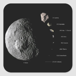 Comparative Size Chart of Nine Asteroids Square Sticker