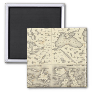 Comparative Size of Lakes and Islands 2 Inch Square Magnet